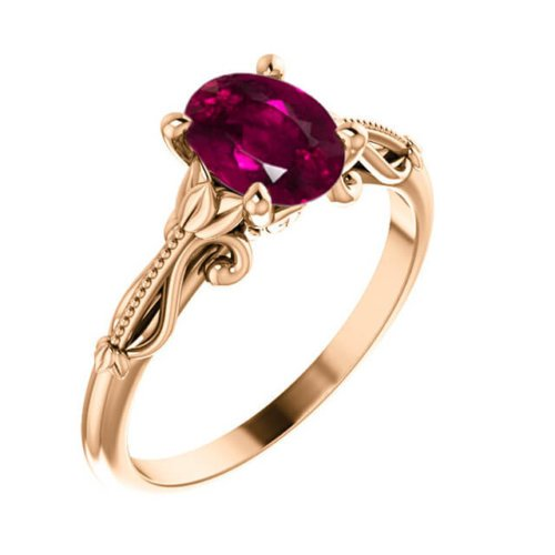 Rubelite Oval Cut Tourmaline Sculptural-Inspired Solitaire Engagement Ring