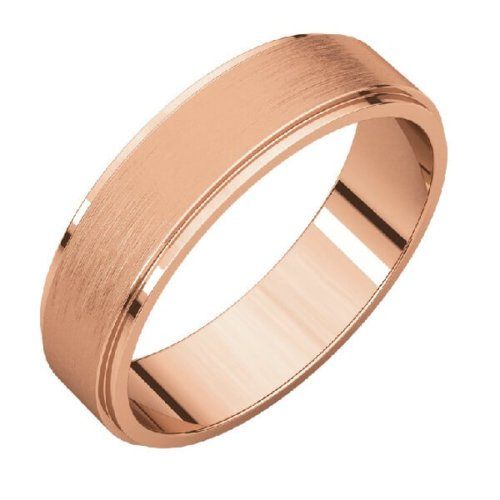 Flat Comfort Fit Men's Wedding Band in 18K Rose Gold Stone Finish