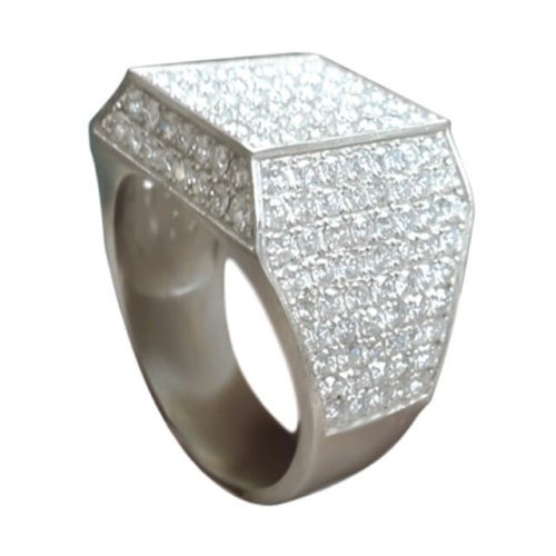 Men's Square Shape Pave Diamond Signet Ring in Platinum