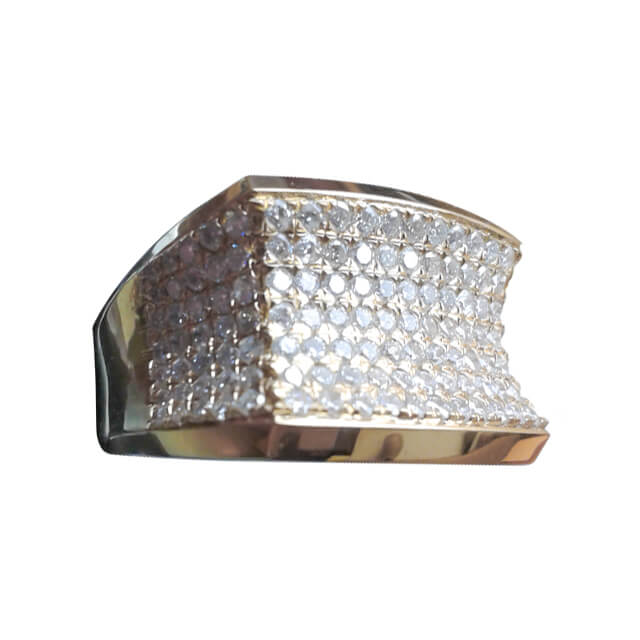Men's Concave Style Pave Diamond Statement Signet Ring in Platinum