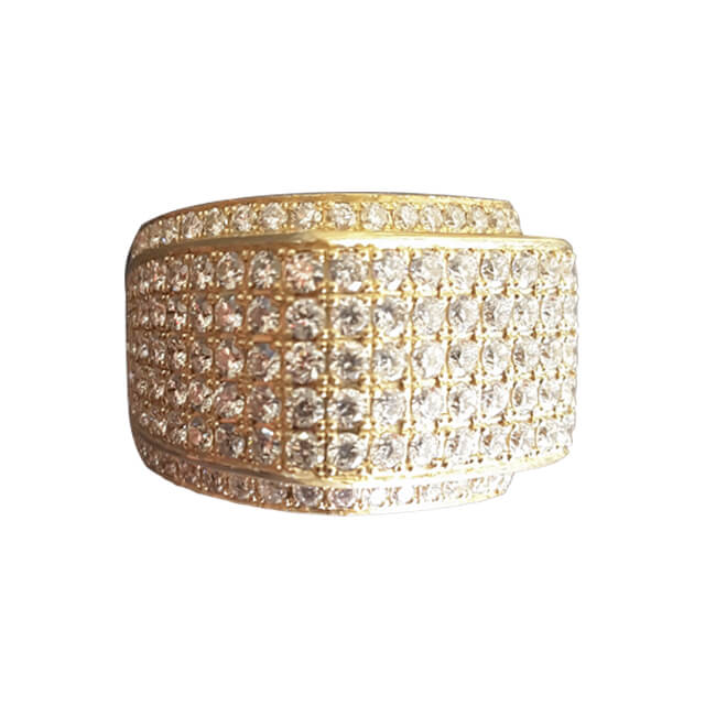 Men's Step Style Rectangular Shape Diamond Statement Signet Ring in 18K Yellow Gold