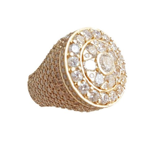 Men's Round Cluster Pave Diamond Shank Ring in 18k Yellow Gold