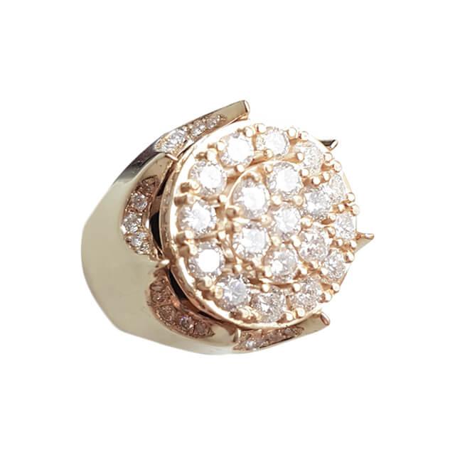 Men's Round Cluster Diamond Signet Ring
