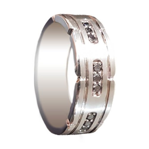 Men's Black Diamond Accents Pave Wedding Ring in Platinum