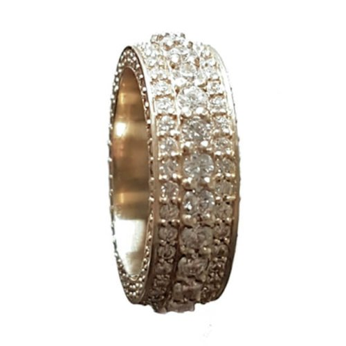 Men's Triple Row Round Prong-set Diamond Eternity Wedding Band
