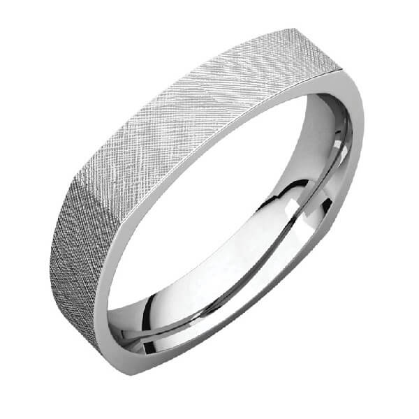 Square Comfort Fit Men's Wedding Band in Palladium Florentine Finish
