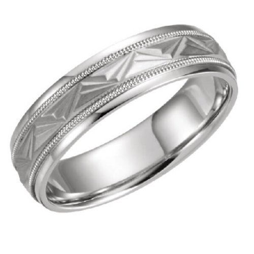 Patterned Milgrain Comfort Fit Wedding Band in Platinum