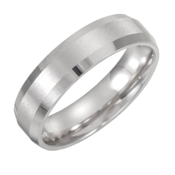 Beveled Edge Satin Men's Wedding Band in Platinum