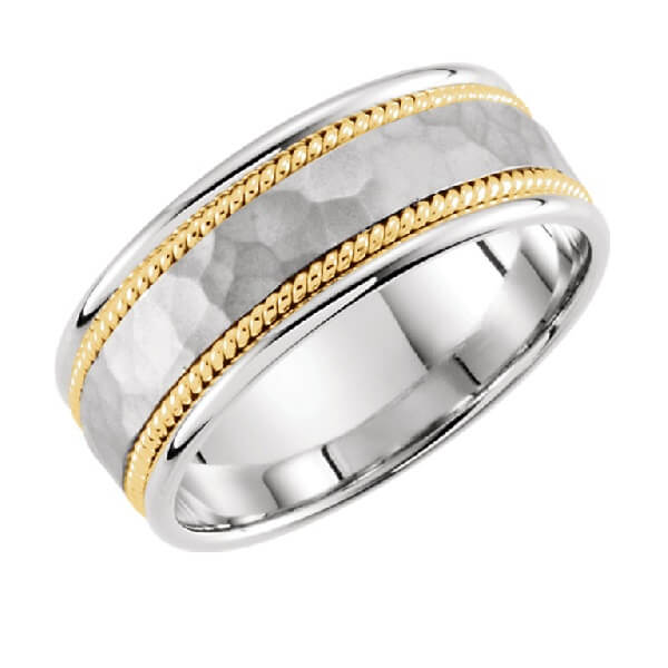 Woven Design Men's Wedding Band in Two-Tone Gold