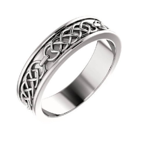 Celtic Inspired Men's Wedding Band in 18K White Gold