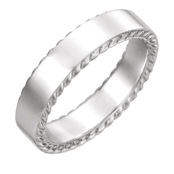 Rope Pattern Men's Wedding Band in 18K White Gold