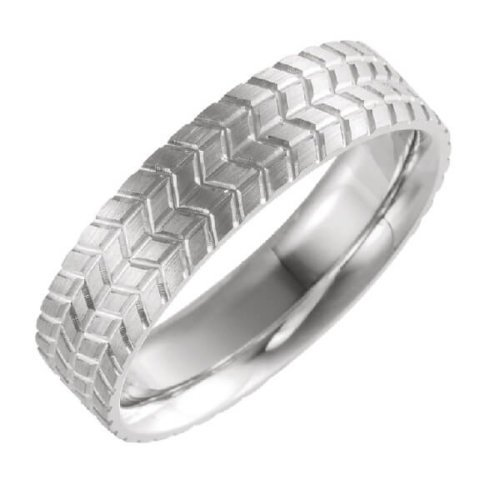 6mm Patterned Men's Wedding Band in Platinum