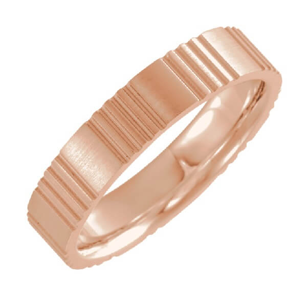 Grooved Men's Wedding Band in 18K Rose Gold