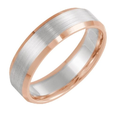 Beveled Edge Satin Men's Wedding Band in Two-Tone Gold