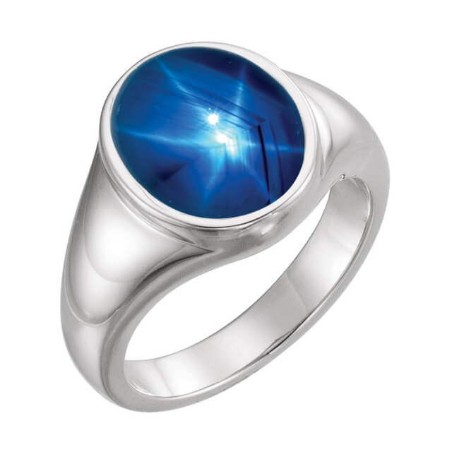 Men's Round Genuine Blue Star Sapphire Signet Ring in Platinum