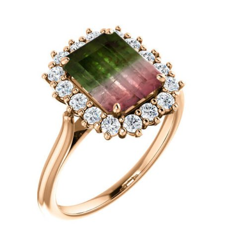 2.50cts Emerald Cut Bi-Colour Tourmaline Diamond Halo Engagement Ring in 18K Rose Gold