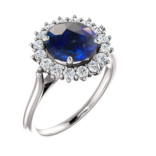 Round Blue Sapphire Diamond Halo Engagement Ring