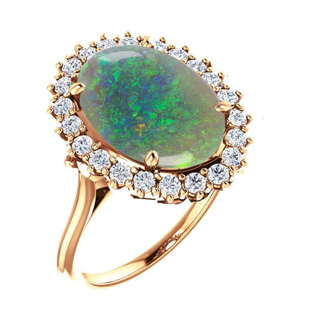 Greenish Opal Diamond Halo Engagement Ring in 18K Yellow Gold