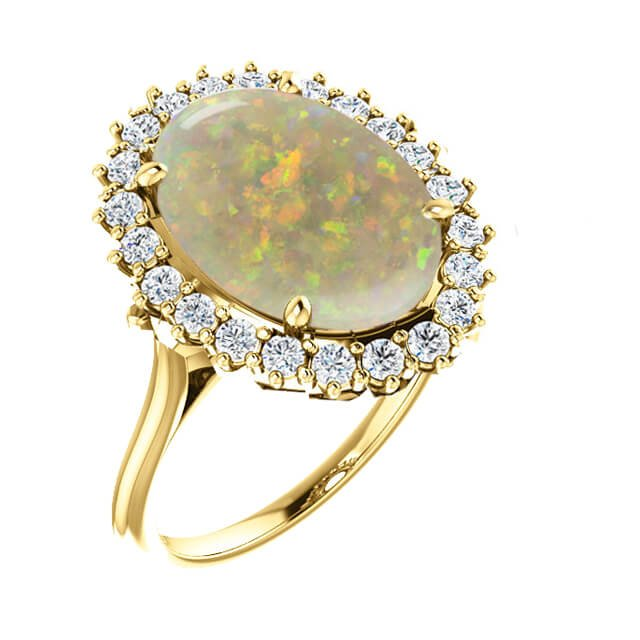 Untreated Opal Diamond Halo Engagement Ring in 18K Yellow Gold