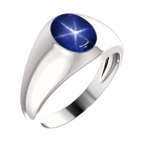 Men's Oval Genuine Blue Star Sapphire Signet Ring in Platinum