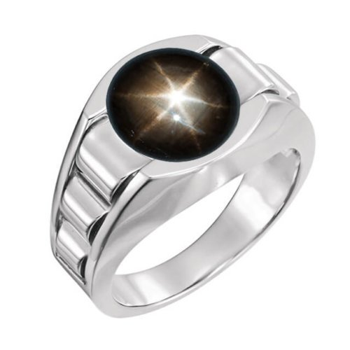 Men's Round Genuine Black Star Sapphire Signet Ring in Platinum