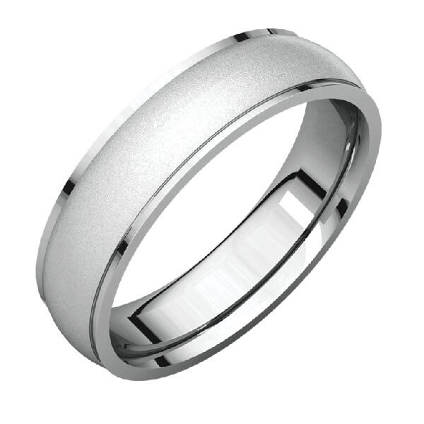 Comfort Fit Men's Wedding Band in Platinum Glass Blast Finish