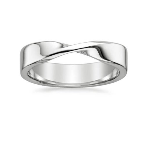 Mobius Twist Men's Wedding Band in 18K White Gold