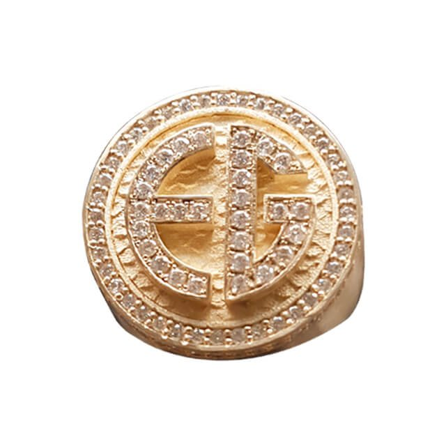 Men's Diamond Personalized Signet Ring in 18K Yellow Gold