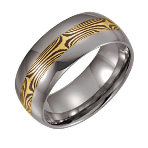 Mokume Gane Inlay Men's Wedding Band in 14K White Gold