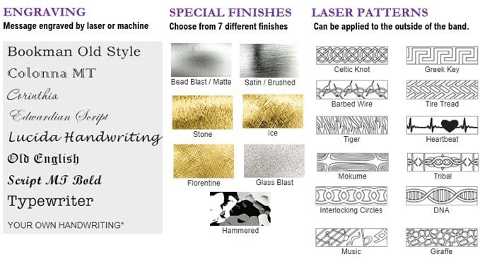 Wedding Bands Finishes Engravings Patterns