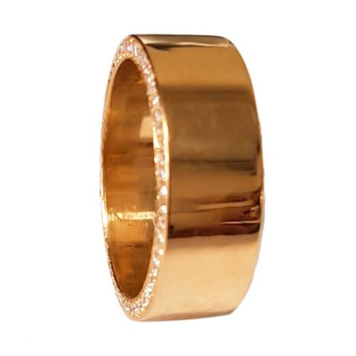 Men's Diamond Pave Accents Wedding Band in 18K Yellow Gold