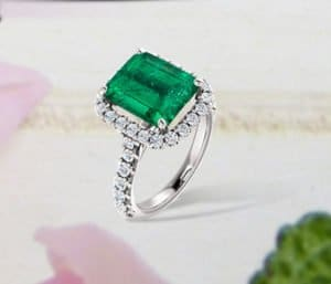 5 39cts Colombian Emerald And Diamond Halo Engagement Ring