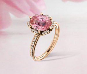 blog Oval Cut Padparadscha Sapphire Floral Diamond Accent Engagement Ring