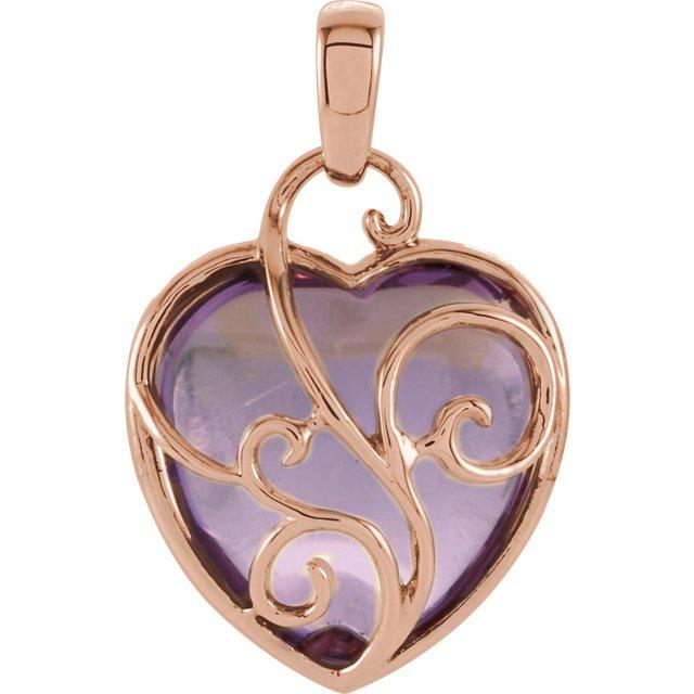 Rose de France Amethyst Heart Shaped Pendant
