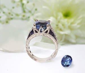blog Ceylon Cushion Cut Sapphire Diamond Accent Antique Style With Filigree Milgrain Edge Engagementent Setting In Platinum