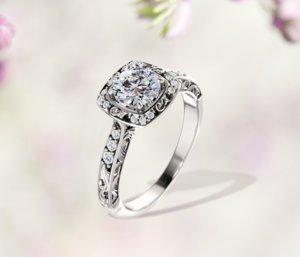 Princess Diamond Square Halo Engagement Ring