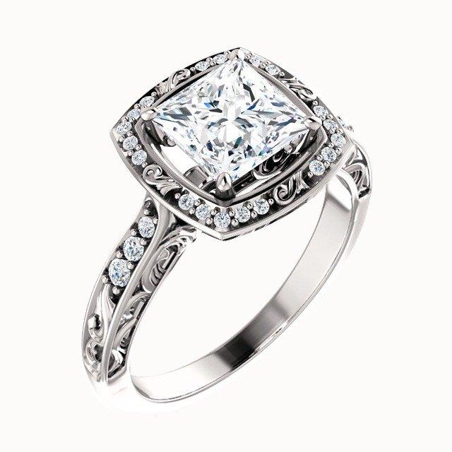 Princess Diamond Square Halo Engagement Ring Platinum