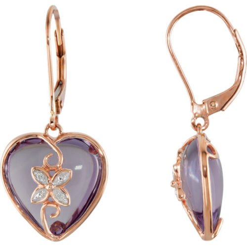 Heart Shaped Rose de France Amethyst Diamond Earrings