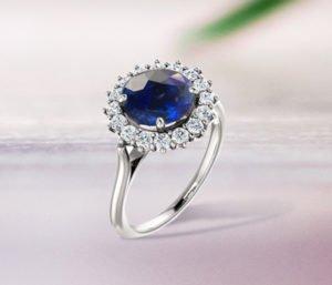 blog Round Blue Sapphire Diamond Halo Engagement Ring