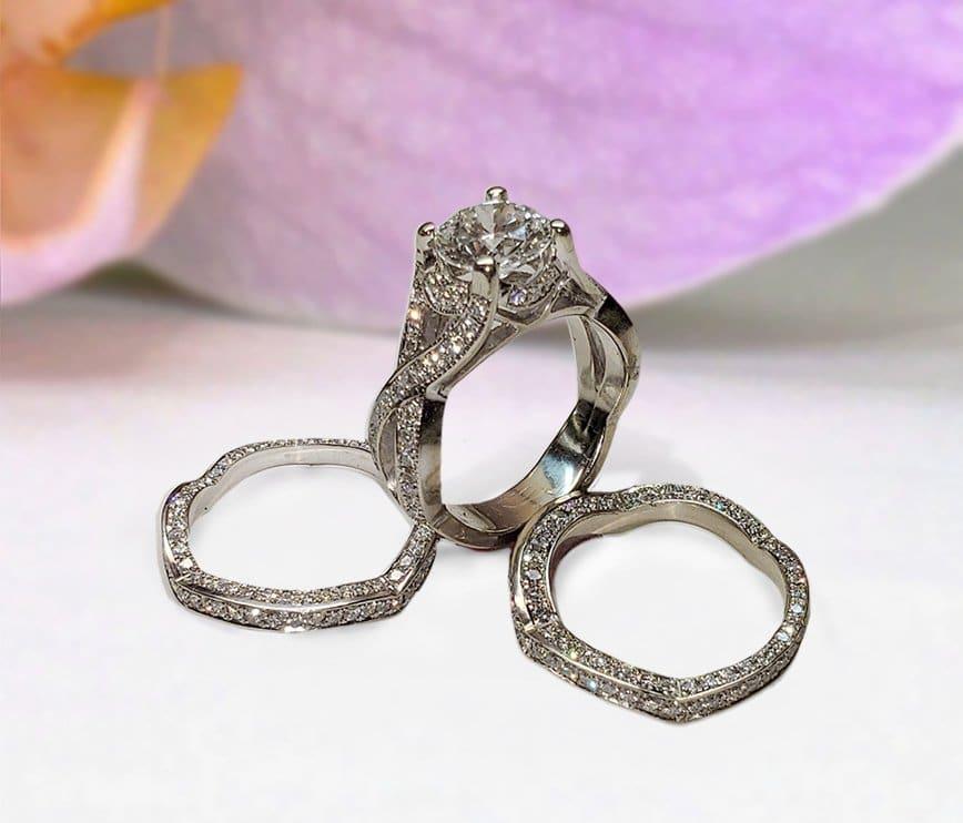 Bespoke Diamond Trio Bridal Set of Matching Wedding Rings