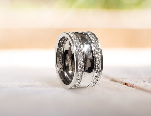 Men's Wedding Band Channel-Set Princess Cut Diamonds Accents