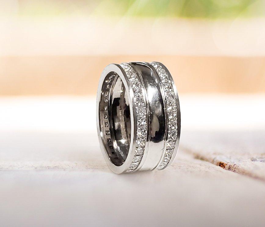 Men's Wedding Band Channel-Set Princess Cut Diamonds Accents