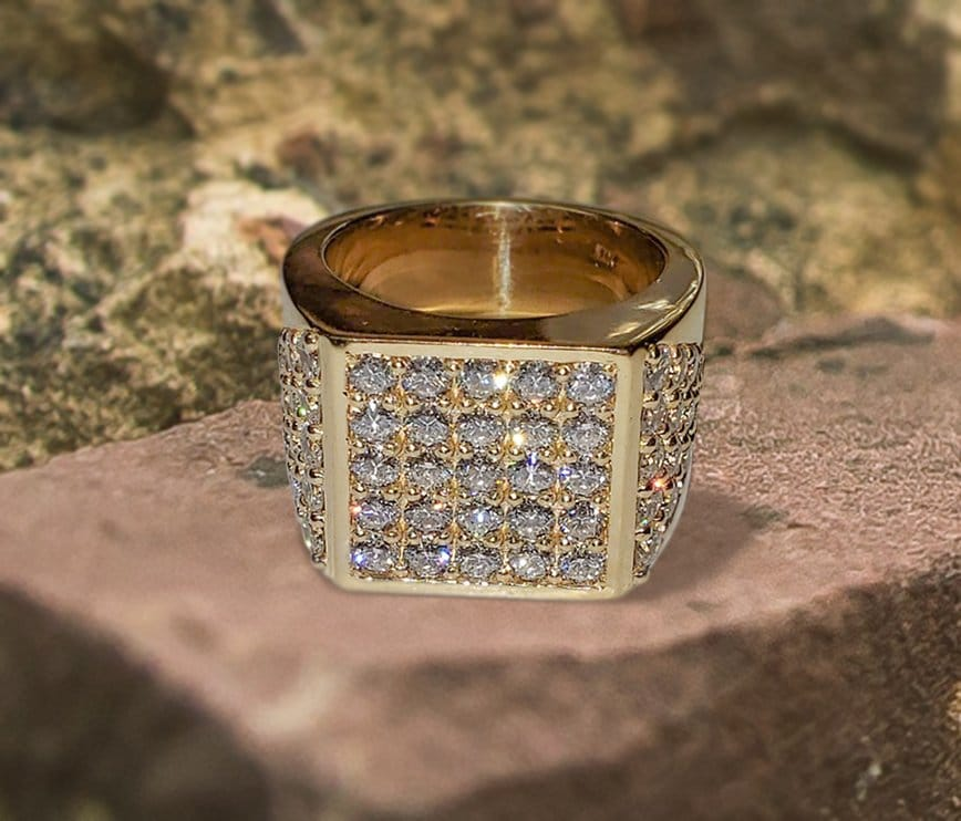 Men's Signet Ring set with 4.51ctw diamonds in pave