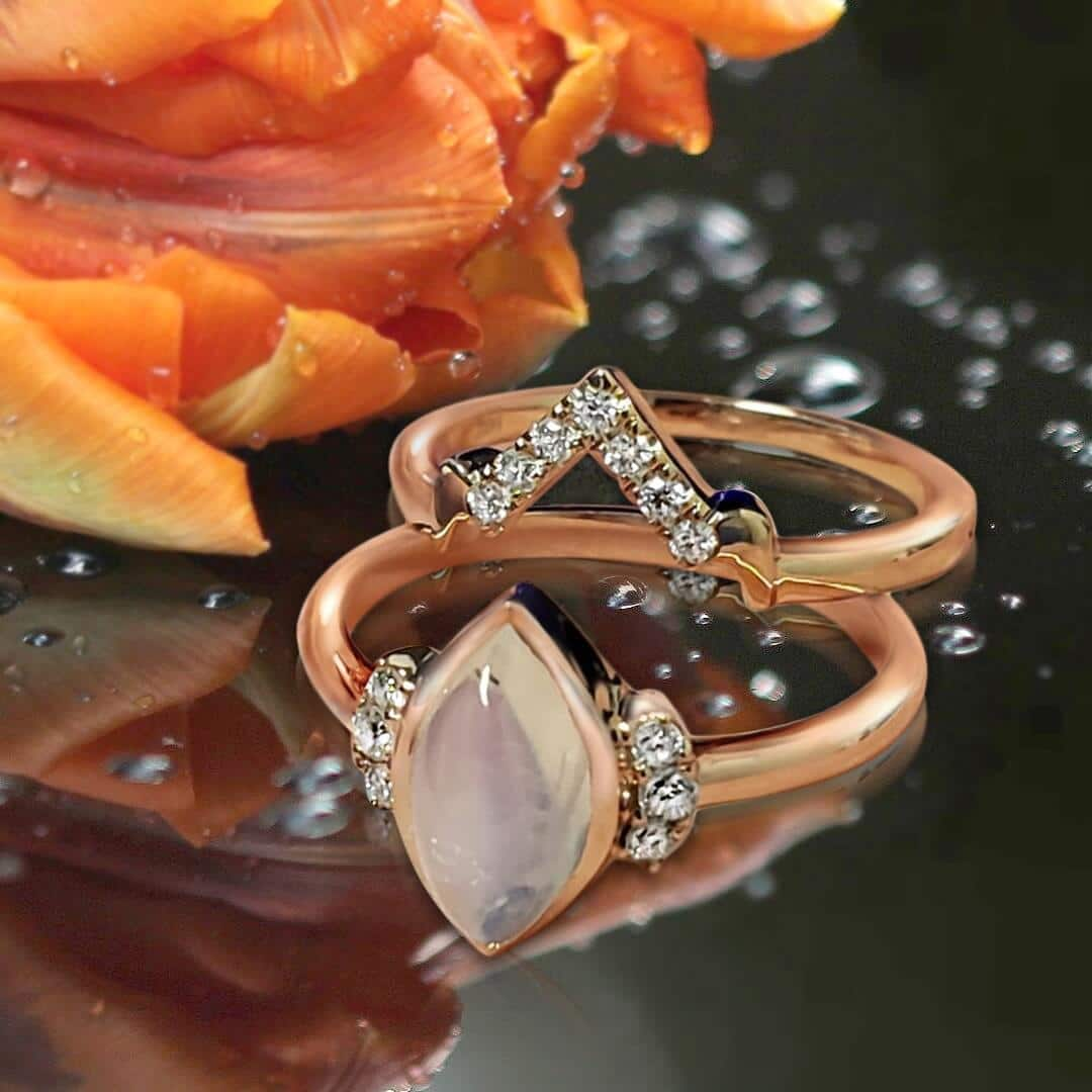 Moonstone Engagement Wedding Rings