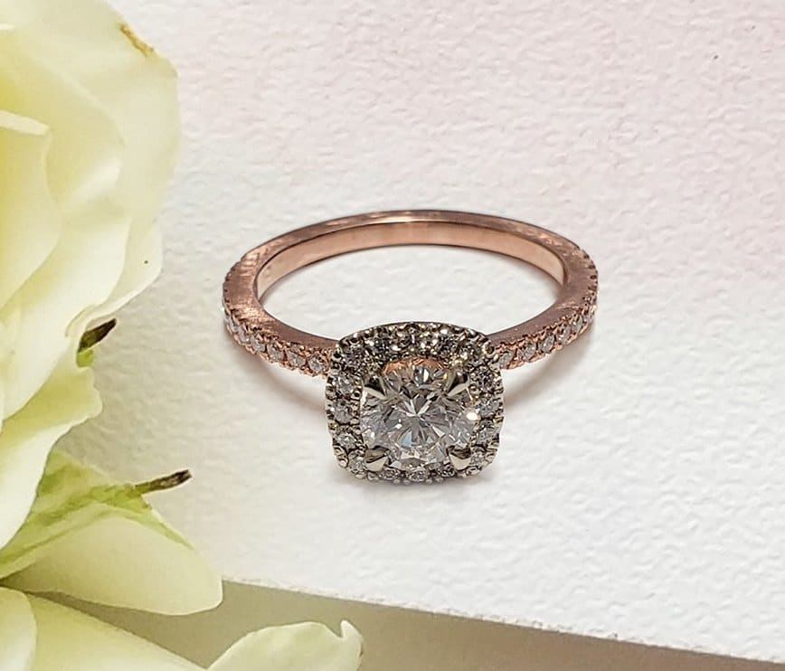Round Diamond Square Halo Engagement Ring in Rose Gold