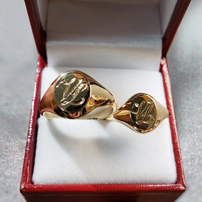 Her Him Signet Rings Personalized
