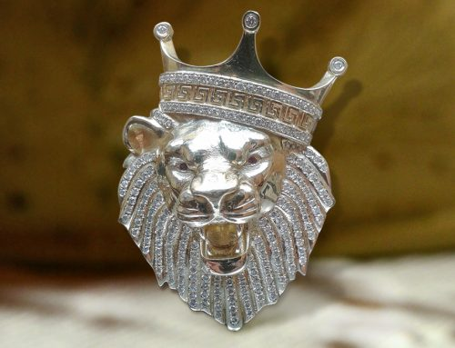 Iced out Crown Lion Head Pendant