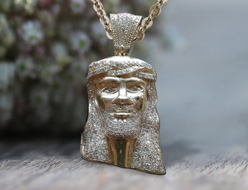 Iced out Diamond Jesus Pendant Necklace in White gold