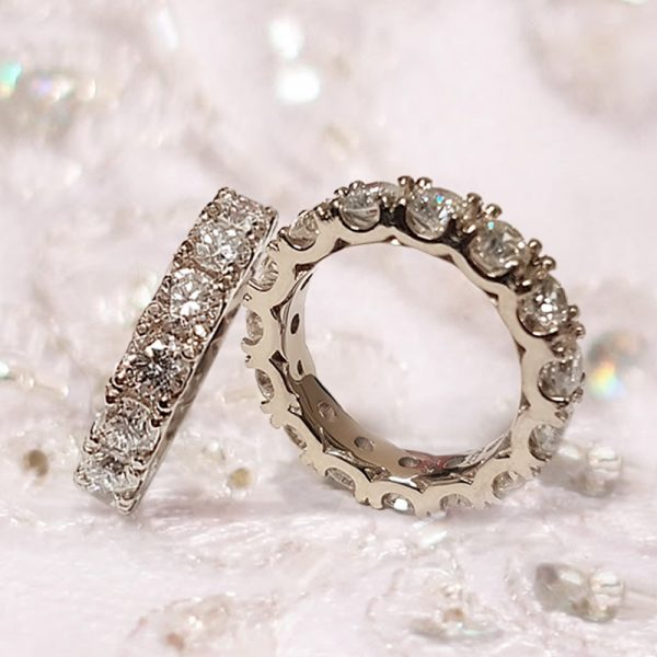 2ctw Fancy U Prong Diamond Eternity Wedding Ring