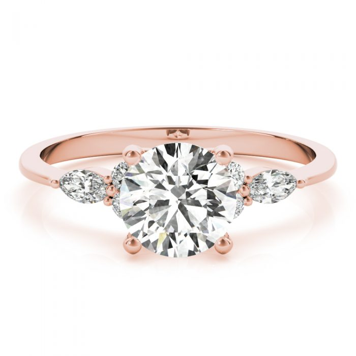 Round Diamond Marquise Accents Engagement Ring